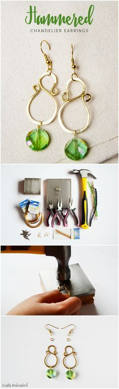 Handcraft these DIY chandelier earrings with a hammered jewelry technique. The stylish pieces make perfect gifts for loved ones or for yourself!