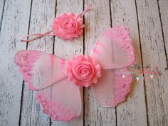 Newborn Infant Photo Prop Wing Set -- Pink Butterfly Wings with Glitter Sequins-- and headband by TheRogueBaby, $18.95