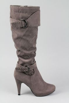 Knee high rhinestone buckle high heel boot $38
