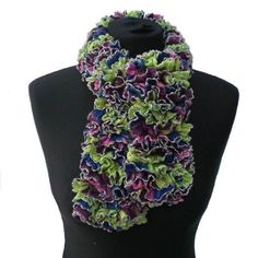 Apple Green, Blue, Pink, Plum and Silver Ladies Woman's Ruffle Scarf Pink Blue, Blue Green, Womens Scarves, Ladies Scarves, Ruffle Scarf, Maroon Color, Green Colors, Color Combinations, Hand Knitting