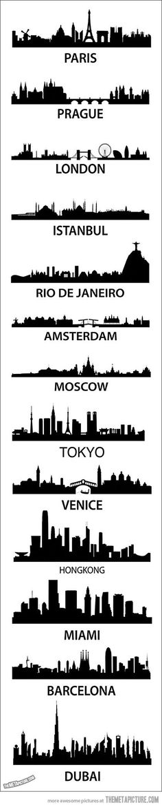 Cool city silhouettes the photo and would LOVE to see a few, but not all places do I think I would Travel to.wish I had the freedom for all, but the top three would be PLENTY for my LIFETIME! Oh The Places You'll Go, Places To Travel, Travel Stuff, Travel Destinations, Thinking Day, Dubai, Travel Tips, Travel Advisor, Travel Goals