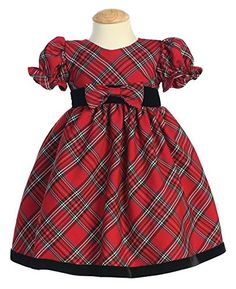 Plaid HolidayChristmas Baby Dress with Velvet Trim 1218 Months Red ** Visit the image link more details. (This is an affiliate link) #BabyGirlDresses