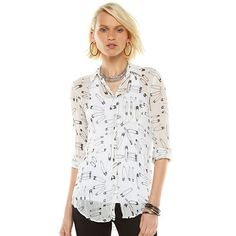 Rock & Republic Print Sheer Crinkle Shirt - Women's