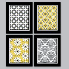 Yellow and Grey Home Decor Wall Art Set of (4) 8X10 Digital Prints Girls Bedroom Nursery Custom colors sizes available Living Dining Room. $35.00, via Etsy.