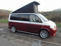 Love the 2 tone Vw Transporter Camper, Vw T5 Campervan, T4 Camper, Volkswagen Bus, Volkswagen Beetles, Vw Lt, Busse, Van Camping, Custom Vans