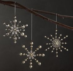 vintage beaded snowflake ornaments