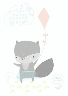 poster with a cute wolf and her kite printed on 250 gram biotop 21 x cm also available as postcard sealed in plastic with cardboard Vicky Riley for Petite Louise Baby Posters, Room Posters, Cute Illustration, Graphic Design Illustration, Nursery Prints, Nursery Wall Art, Kids Prints, Art Prints, Baby Art