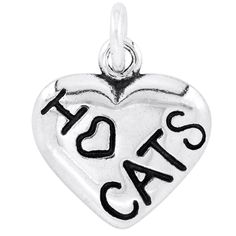 BSE Sterling I Heart Cats Heart Charm