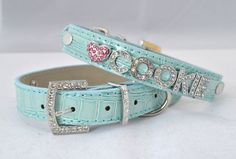 Personalized Blue Leather Bling Dog Collar. $19.50, via Etsy.