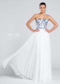 e194b97bbb8 Ellie Wilde Prom 117020 White Multi Strapless