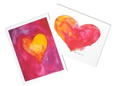 Watercolor Hearts Note Cards  Set of 6  Love Notes by SusanWindsor, $9.00