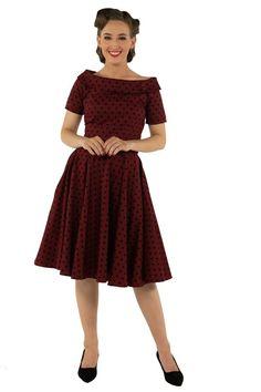 18231930f8 Darlene Retro Polka Dot Swing Dress in Burgundy/Black. PöttyösPöttyös Ruha