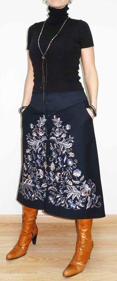 Embroidered woollen #skirt by #GN-Atelier by #GNatelier. https://www.facebook.com/GN_design-1617224841891321