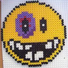 Smiley black eye hama beads by Les loisirs de Pat