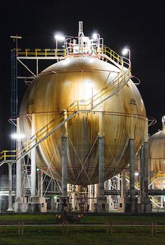 Iconic pic of a spherical oil tank of Esso refinery near Southampton (UK)