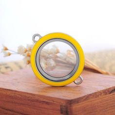 5PC Connector Floating Living Locket For Floating Charms Yellow 3.7x2.95cm