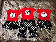 Custom boutique. Applique Dr.Seuss Thing 1 and Thing 2 red girls pillowcase dress and T shirt romper sibling set. By EverythingSorella. $62.50, via Etsy.