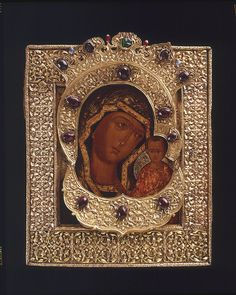 Icon of the Virgin of Kazan. This icon of the Virgin Mary with the child Jesus is a copy of the 17TH century of the icon discovered in the city of Kazan in 1579. It was believed that the original icon helped the Russian troops to liberate Moscow from Polish occupation in 1612.