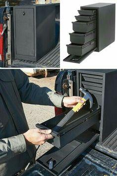 Locking Sliding Drawer Steel Truck Box — Vertical, Black, Fits Bed, x 8 x Truck Bed Storage, Tool Storage, Storage Spaces, Jeep Xj, Jeep Truck, New Trucks, Pickup Trucks, Patrol Y61, Truck Boxes