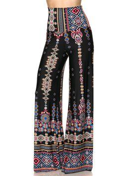 High Waist Fold Over Wide Leg Gaucho Palazzo Pants (Black Tribal Aztec – Niobe Clothing