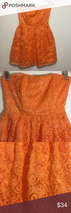 :Jack bb Dakota: Glow Dancing Dress Adorable strapless dress, bright orange with circles embroidered. Dress has shimmery look that shines beautifully in the light. Excellent used condition! Jack by BB Dakota Dresses Strapless