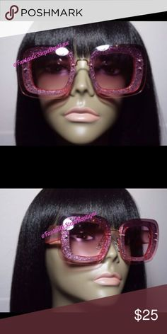 """Sprinkle My Glitter"" Pink ombré sunglasses Accessories Sunglasses"