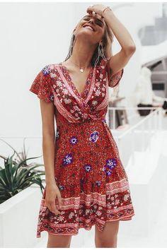 Bohemian Floral Minikleid Festa V Neck Ruffle Bandage Dress - . Short Beach Dresses, Summer Dresses For Women, Spring Dresses, Maxi Dress With Sleeves, The Dress, Elegant Dresses, Sexy Dresses, Formal Dresses, Wedding Dresses
