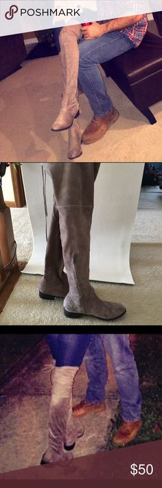 Catherine Malandrino Over the Knee Boots Tan suede, over the knee boots, ties in back, worn twice. Catherine Malandrino Shoes Over the Knee Boots