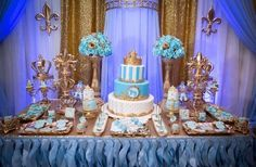 Gold and blue Royal baby shower | http://CatchMyParty.com