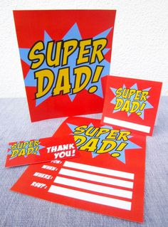 "[free printable] Superhero theme Father's Day party kit in THREE DESIGNS to choose from! ""super dad"" Invitation, cards, cupcake circles or breakfast in bed pancake toppers, gift tags, beverage / drink / soda, beer or wine bottle labels, thank you cards and more! { FATHER'S DAY } dad or stepfather"