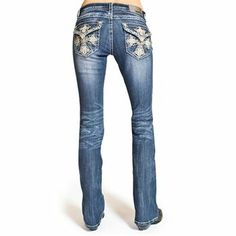 Grace Women's Embroidered Cross Pocket Boot Cut Jeans