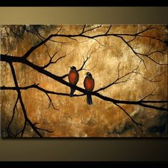 Photo of Calm Nature Birds on Earth Toned Background, with textured look, 24x36x1.5 Sharp Rustic Look