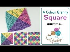 How To Crochet A Granny Square: 4 Colors in One - YouTube