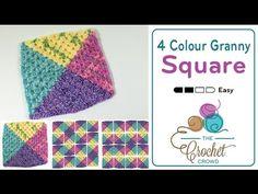 Crochet 4 Colour Granny Square Afghans + Tutorial - The Crochet Crowd