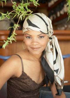 Side tying and relaxed ends of the scarf here are great.-TMC~~head scarf