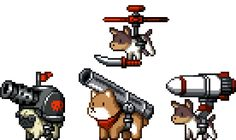 From Mercenary Kings. Early concepts for a fleet of dog enemies, working for CLAW. They did not make it into the game, even if they were dangerously adorable!