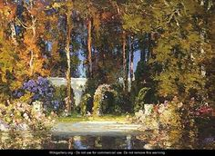 thomas edwin mostyn art | Luxuriant Garden - Thomas E. Mostyn
