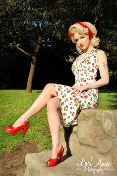 Cherry dress, red shoes, and that hairstyle!!! LOVE! :: Pin Up Girl :: Rockabilly Girl:: Rockabilly Fashion:: Style:: Vintage Fashion:: Retro style