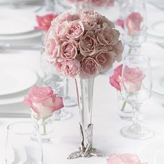 Pink Rose Wedding Flower Arrangements