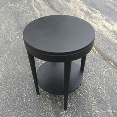 Reclaimed Two Tier Mid Century Round End Table in Flat Black
