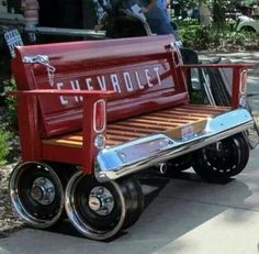 vintage chevy truck tailgate turned bench
