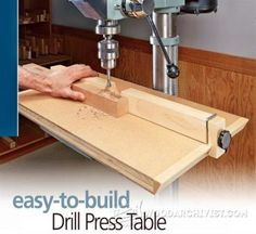 Extendable Drill Press Table Plan - Drill Press Tips, Jigs and Fixtures | WoodArchivist.com