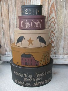 Primitive Olde Crow Oval Stack Boxes