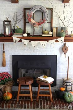 Pretty fall mantel from My Blessed Life