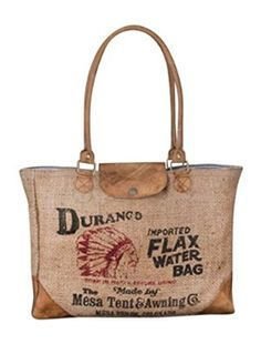 Backroads Durango Tightly Woven Burlap and Leather Water Bag Tote: Handbags: Amazon.com