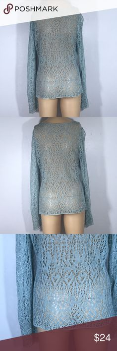 VTG 90s Grunge Pom Crochet Sweater Sheer S M In prime vintage condition. Teal/Blue/green sheer crochet hippie sweater featuring Pom balls fits like a US 4-6 (small-medium) - there is stretch to the fabric Vintage Tops Camisoles