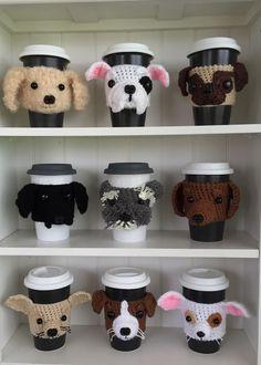 Series of dog cup cozies designed to look like different dog breeds.  #hookedbyangel #doggonecute #goldenretriever #englishbulldog #pug #lab #schnauzer #dachshund #chihuahua #jackrussellterrier