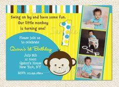 Mod Monkey Birthday Invitations by LollipopPrints on Etsy, $12.95