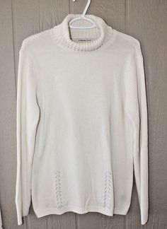 COLDWATER CREEK XL 18 Winter White Turtleneck Ribbed Sleeves Back #COLDWATERCREEK #Turtleneck #Any