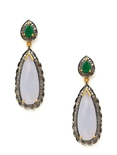 Amrapali | Emerald, Diamond, & Blue Chalcedony Scalloped Double Teardrop Earrings